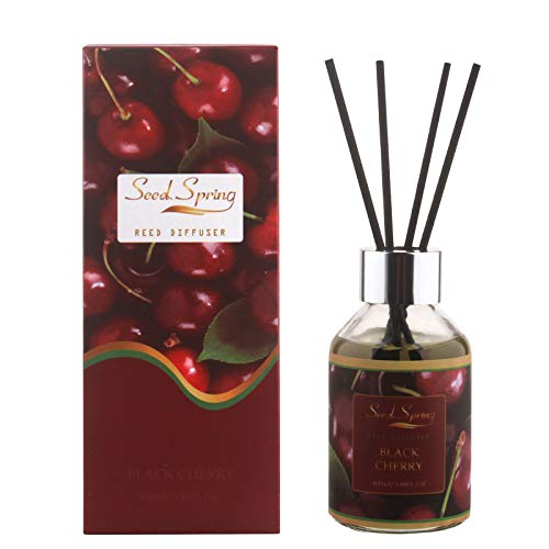 Seed Spring Reed Diffuser Black Cherry 100ml, Scented Oil Diffuser with 6 Sticks for 50 Days, 2× Stronger Fragrance, Best for Home Bathroom Bedroom