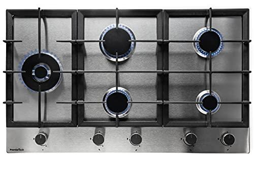 PremierTech PC905L Piano Cottura a Gas 5 fuochi 90cm Acciaio Inox Wok supporti in ghisa professionali