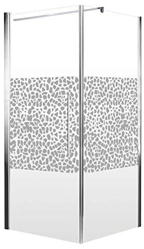 Schulte Duschkabine Glas-Dusche 80x80, 5mm Stärke Drehtür und Seitenwand chrom-optik Sicherheitsglas terrazzo