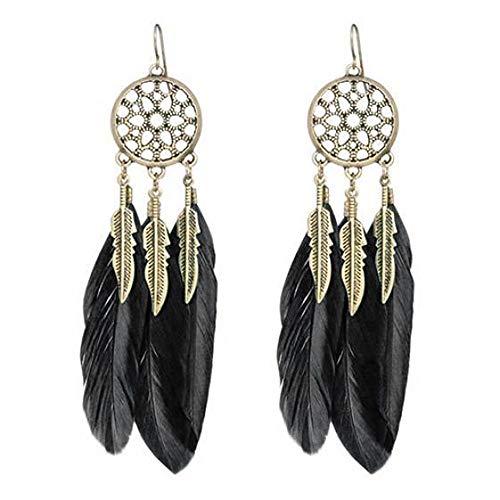 Feather Long Earrings Jewelry Vintage Dream Catcher Fancy Eardrop Hoops Stud Earring Bohemian (Black)
