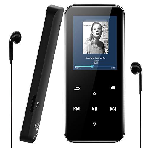 Reproductor MP3 Bluetooth 4.2, Reproductor de Música 16GB Ampliable hasta 128 GB con Auriculares, MP3 Bluetooth Running 1.8 Pulgadas Pantalla Táctil con Altavoz, FM Radio, Grabación, Podometro,E-Book