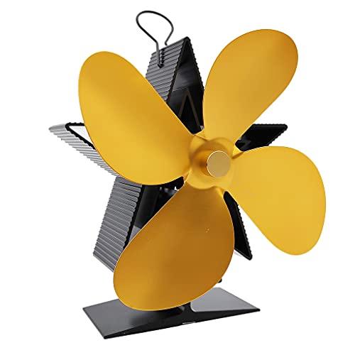 perfk Chimenea Térmica de 4 Ventiladores para Quemador de Leña Ventilador Silencioso para - dorado, tal como se describe