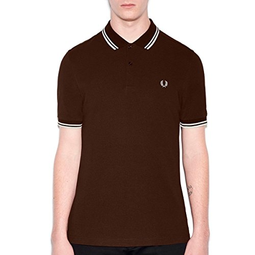 Fred Perry Twin Tipped Shirt, Polo Uomo, Marrone (Dark Chocolate/Ecru), Small