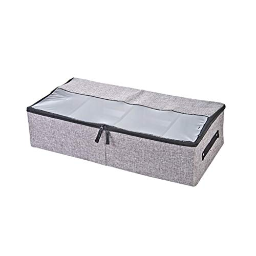 CDZN Underbed Storage Bag with Compartment Cardboard, Clothes Storage Bag with Transparent Window For Clothes, Blanket, Comforter, Bedding, Duvets,dark gray