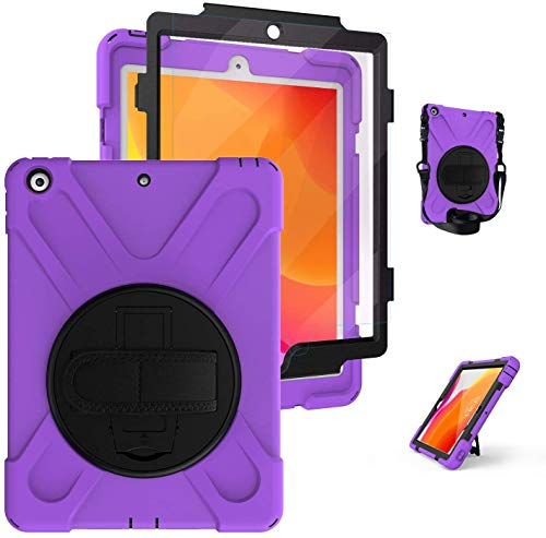 iPad 8th/7th Generation Case 10.2 with Stand, [Built In Screen Protector] TSQ Full Body High Impact Resistant Drop Protection Rubber Hard Case with Hand Grip Strap for iPad 10.2 Inch 2020/2019, Purple