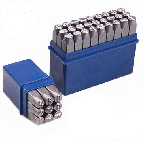 SETROVIC Number & Capital Letter Stamp Set (36 Piece Punch Set/A-Z & 0-9), Metal Stamp Kit for Imprinting Metal, Wood, Plastic, Leather, 1/8