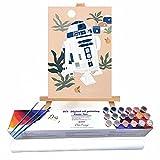 Qegyxk Robot de Dibujos Animados Pintura por números Adultos DIY Pintura al óleo Kit Pinceles y Pinturas 30x45cm Sin Marco