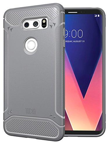 TUDIA [TAMM Kohlefaser TPU Schutzhülle Ultra Slim Hülle für LG V30 (Grau)