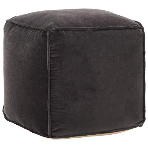 vidaXL Pouf Sitzpouf Sitzhocker Fußhocker Sitzpuff Hocker Polsterhocker Ottoman Fußbank Sitzwürfel 40x40x40cm Anthrazit Baumwollsamt