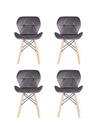 Set di 4 sedie da pranzo vintage in velluto con poltrone a prua e struttura in metallo...