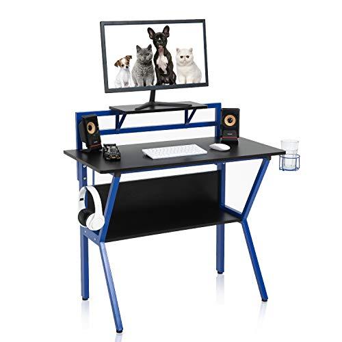 YAMASORO Mesa para juegos, mesa de ordenador con soporte para monitor, con soporte para auriculares y vaso, multifunción, estructura de acero en forma de K, fácil montaje, escritorio grande