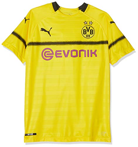 PUMA Kinder BVB Cup Shirt Replica Jr with Evonik Without OPEL Logo Trikot, Cyber Yellow, 128