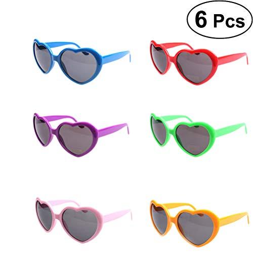 TOYMYTOY Occhiali da sole a forma di cuore 6 pezzi Creative Party Favors Occhiali (Rosso, Verde, Viola, Blu Royal, Rosa e Arancio)