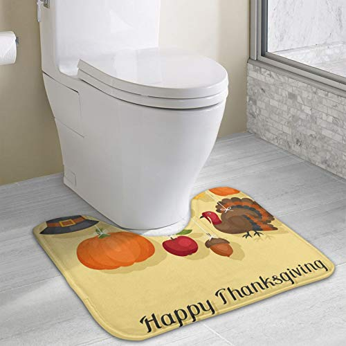 Happy Thanksgiving Day with Holiday Area Rugs Toilet mat U Type pad Thicken Non-Slip Floor mat Bathroom Absorbent pad Fashion Home Decoration