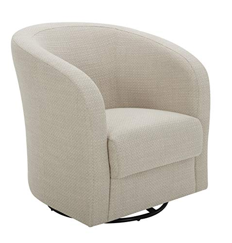 Amazon Brand – Rivet Rione Modern Upholstered Swivel Chair with Rounded Back, 30.3'W, Stucco