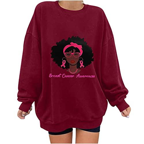 Wave166 Jersey monocolor para la campaña de sensibilización del cáncer de mama con Ribbon y Avatar, estampado gráfico de manga larga, cuello redondo, moda casual para mujer, rojo, M