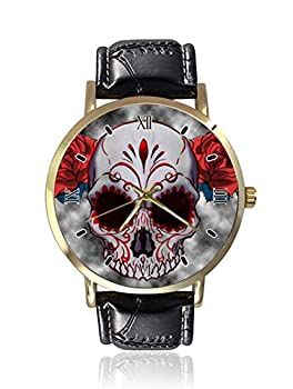 Sugar Skull Red Owl and Rose Tattoo Wrist Watch Unisex Fashion Black Leather Strap Stainless Steel Round Gold Dial Plate Wristwatch