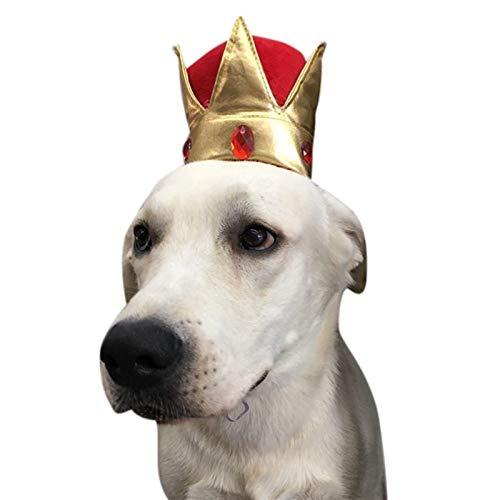 Hundkatt Headwear Little King Queen Cap Rolig Söt Pet Cat Crown Hat Kostym Hatt för Cosplay Party Decor Pet Supplies (Color : A)