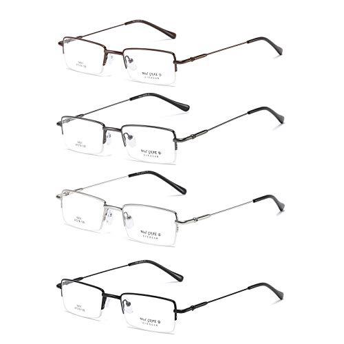 KoKoBin 4-pack occhiali da lettura rettangolare con primavera Cerniere,Materiale metallico ultraleggero, 1.0