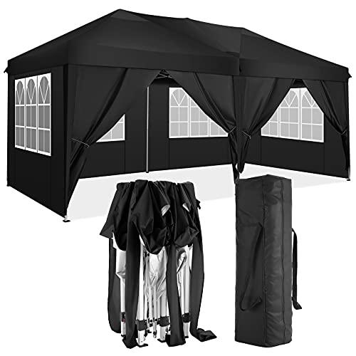 TOOLUCK Carpa 3x6m Cenador de Jardín Impermeable Carpa Plegable con Salida de Aire, 6 Paneles Laterales y Bolsa de Peso, para Actividades al Aire Libre (3x6 M, Negro)