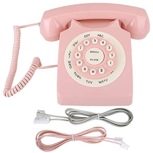 Agatige Teléfono Europeo, Teléfono Vintage Teléfono con Cable De Calidad De Llamada HD con Botones Grandes Sonido Claro Oficina En Casa Rosa