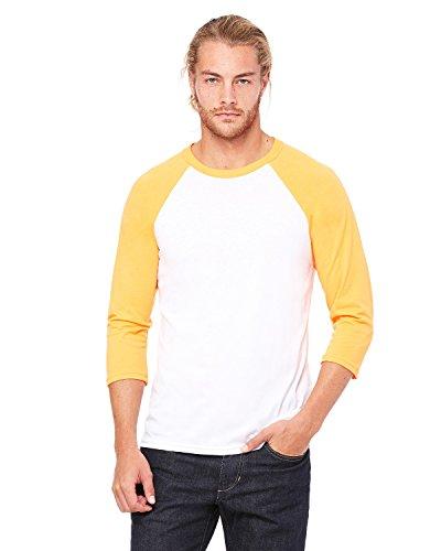 Bella Canvas Mens Triblend 3/4-Sleeve Baseball T-Shirt (3200) wht/neon Orange l