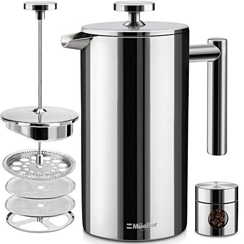 Mueller French Press Double Insulated 310 Stainless Steel Coffee Maker Multi-Screen System 100% No Coffee Grounds, Rust-Free, Dishwasher Safe