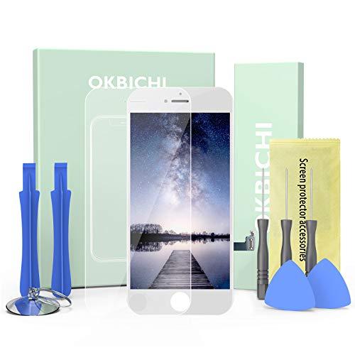 OKBICHI LCD Kit de Pantalla de reemplazo de Pantalla táctil para iPhone 8 (4.7 ,Blanco) ensamblaje del Marco del digitalizador Herramienta de reemplazo de conversión Completa y Protector de Pantalla