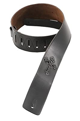 Christian Rhinestone Cross Leather Guitar Strap