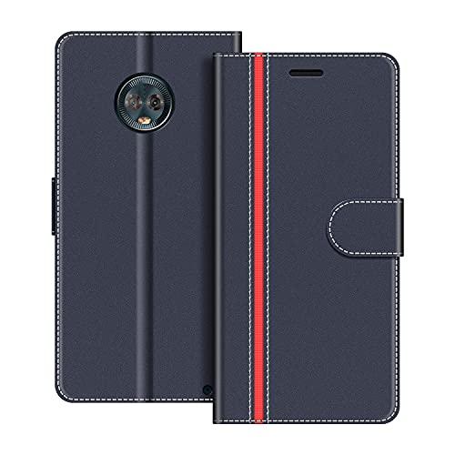 COODIO Handyhülle für Motorola Moto G6 Plus Handy Hülle, Motorola Moto G6 Plus Hülle Leder Handytasche für Motorola Moto G6 Plus Klapphülle Tasche, Dunkel Blau/Rot