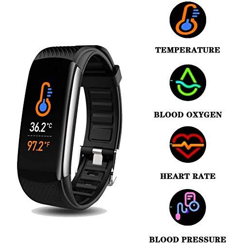 Smart watch Reloj Inteligente, rastreador de Fitness con Termometro de Temperatura corporea, monitorare de presión arteriosa, monitorare de Sueño, IPX7, Hombres, Niños