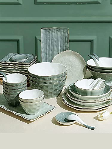 dh-2 Ceramic bowl 9-44 Piece Reactive Glaze Dinnerware Set, Nordic luxury tableware set bowl and plate Service