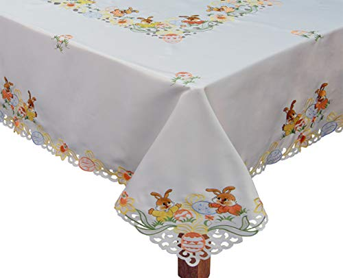 """Creative Linens Embroidered Easter Bunny Egg Floral Tablecloth 68"""" Square with 8 Napkins White"""