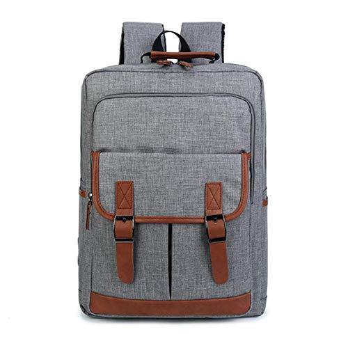 Backpack IBHT 16inch Canvas Leather Oxford Laptop Travel Backpack Satchel Rucksack Student School Bag Men Women Grey