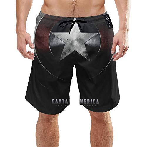 EU Capitán América Hombre Impreso en 3D Bañador Divertido Secado rápido Ropa de Playa Deportes Correr Bañador Shorts Forro de Malla