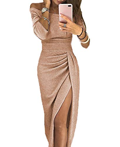 Yutila Damen Schulterfreies Kleid als Abendkleid Partykleid Ballkleid Maxikleid elegant glänzend und hoch geschnitten