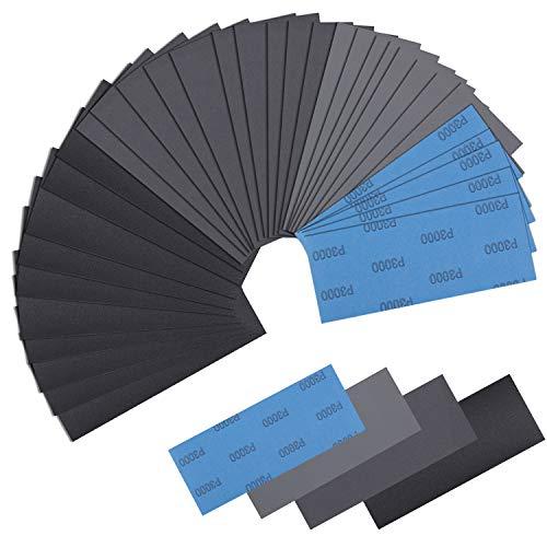 Schleifpapier Set, 30 Stück Schmirgelpapier Nass & Trocken Sandpapier, 120 to 5000 Körnung Nassschleifpapier für Auto, Holzmöbel, Stein, Lack, Metall, Glasr(23.5 x 9.5 cm)