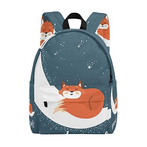 Sac à Dos Mignon Moon Night Fox Sac à Dos pour Les garçons et Les Filles Outdoor Daypack Casual