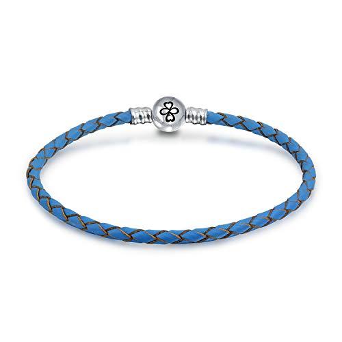 Ayllu amulet Talisman Intertwine Symbol Braid genuino azul cuero pulsera para mujeres...