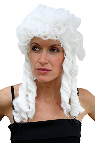 WIG ME UP VK Event Fashion - Perruque Blanche, Style Baroque, Idéal Pour Carnaval Ou Cosplay.