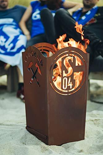 Schalke04 Feuertonne Feuerkorb Schalke Glück auf Feuerstelle Fanartikel aus Metall Edelrost Fanartikel offizielles Lizenzprodukt - Maße 64 cm x 32,5 cm x 32,5 cm