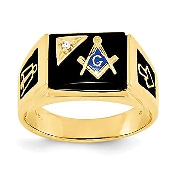 14k Yellow Gold Diamond Masonic Ring Size 10  0.01,ct  for Women