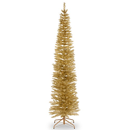 National Tree Pine 7 Foot Champagne Gold Tinsel Tree, 7 ft