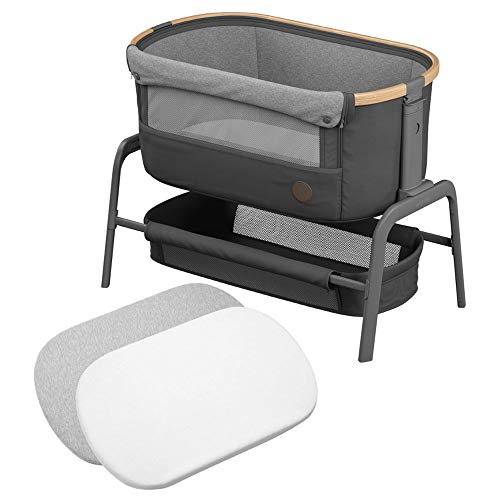 Maxi-Cosi Iora Co-Sleeper with Fitted Sheets for Mattress, Bedside Crib with Easy Slide Function, Suitable from Birth, 0 Months - 9 kg, Essential Graphite