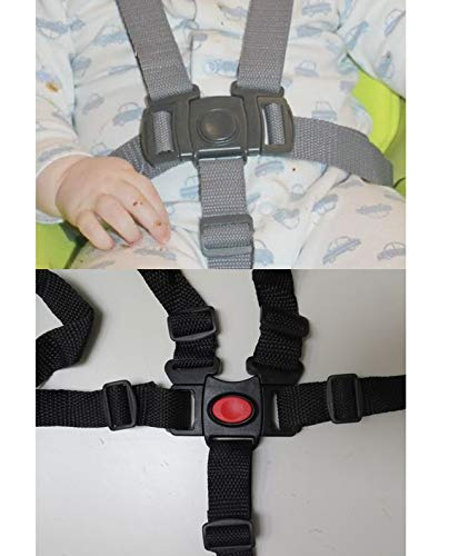 Black 5 Point Harness Buckle Clip Plus Straps Replacement Part Compatible with Graco DuetConnect Swing Rocker Bouncer Models Seat Safety for Babies, Toddlers, Kids, Children