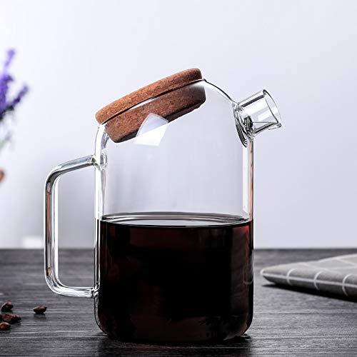NOSSON Tetera Grande Vaso de Vidrio de Vidrio de borosilicato Alto Tetera, Vaso de Vidrio con Tapa de Corcho Vaso de Agua fría de Vidrio 1000ML