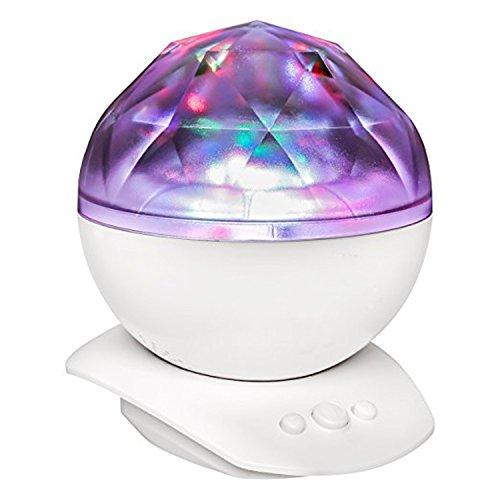 Ruanyi 1PCS 3W AGM Aurora Himmel-Kosmos-Ozean-Wellen-LED-Nachtlicht, sternenloser Vorlagen-Projektor USB angetriebener Diamant-Musik-Lautsprecher für Schlafzimmer-Dekor Led (Color : White)