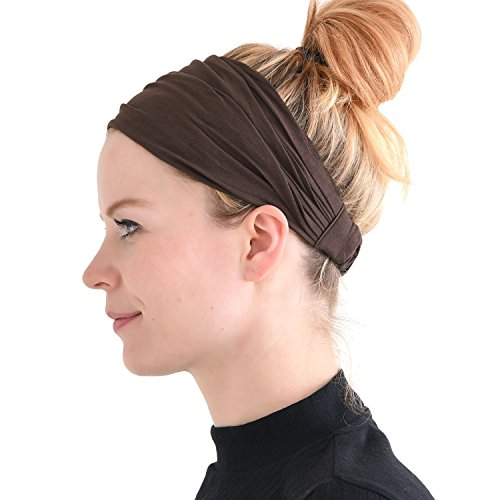 CCHARM Brown Japanese Bandana Headbands for Men and Women – Comfortable Head Bands with Elastic Secure Snug Fit Ideal Runners Fitness Sports Football Tennis Stylish Lightweight M