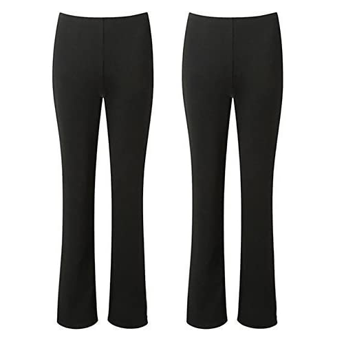4bf42d7e1af29 MISSY LADIES STRETCH TROUSERS PACK OF 2 BOOTLEG STRETCH RIBBED TROUSERS  BLACK SIZE 8-26