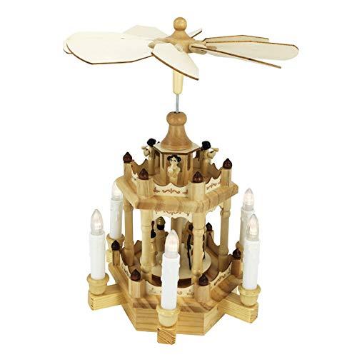 OBC Weihnachtspyramide/Engel /, LED Beleuchtung und Kerzen/Pyramide Weihnachten / 2 Etagen/im Erzgebirge Stil, handgefertigt/Deko zu Weihnachten